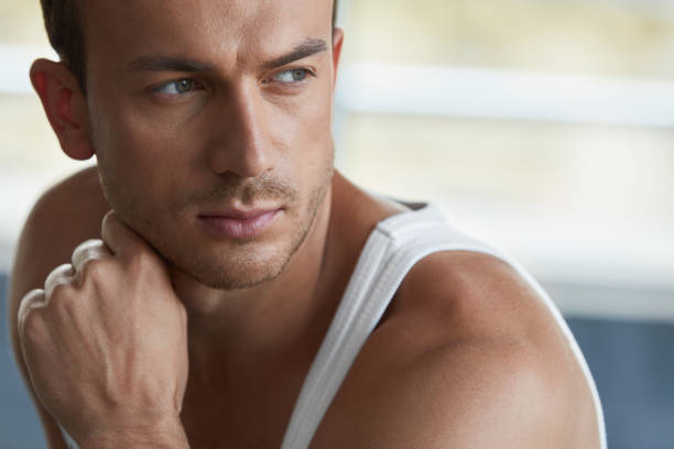 Man Beauty. Handsome Young Male With Beautiful Face Portrait stock photo