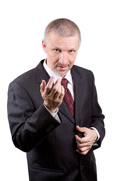 Man beckoning somebody stock photo