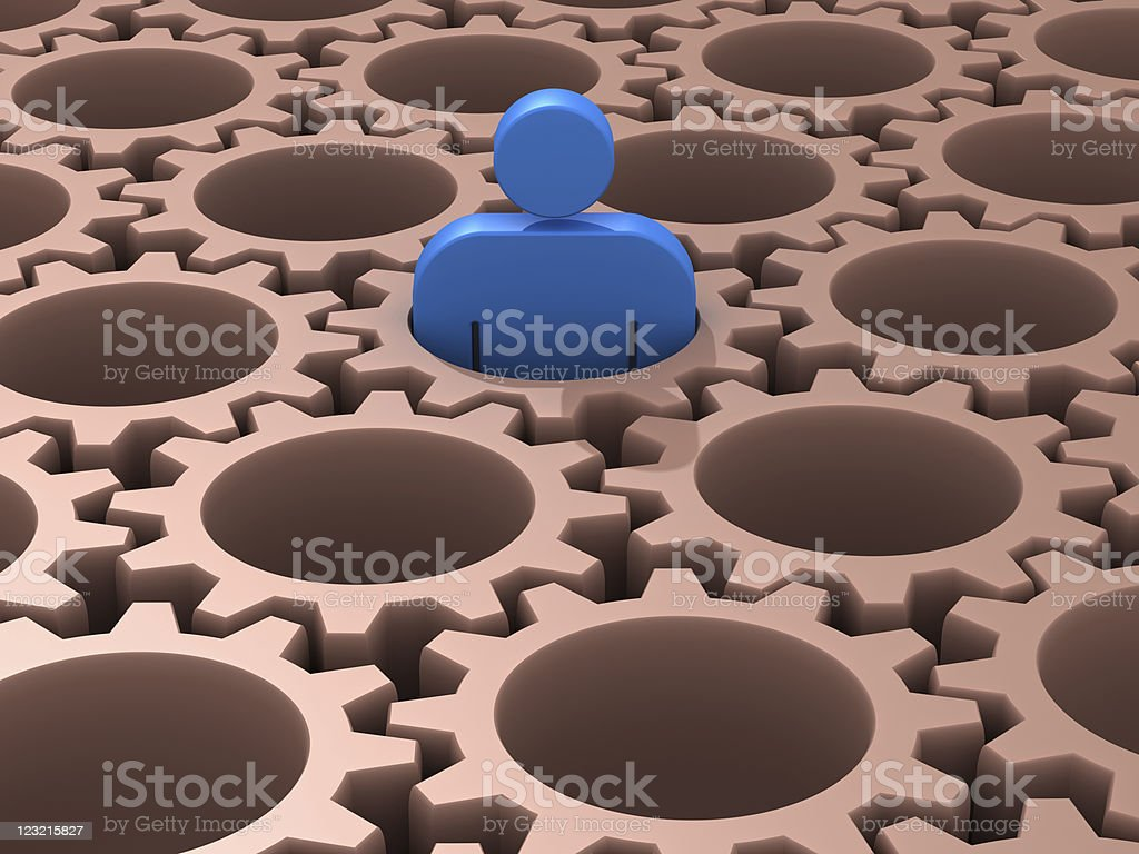 Man become one of gears in the system. royalty-free stock photo