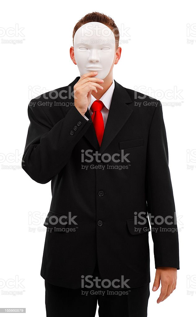 Man behind mask stock photo