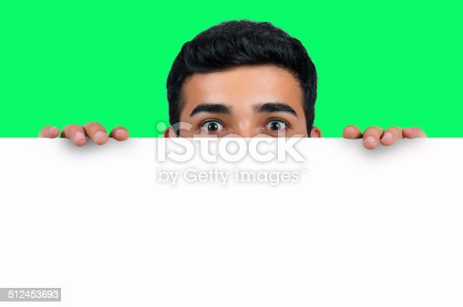 istock Man behind to white paper 512453693