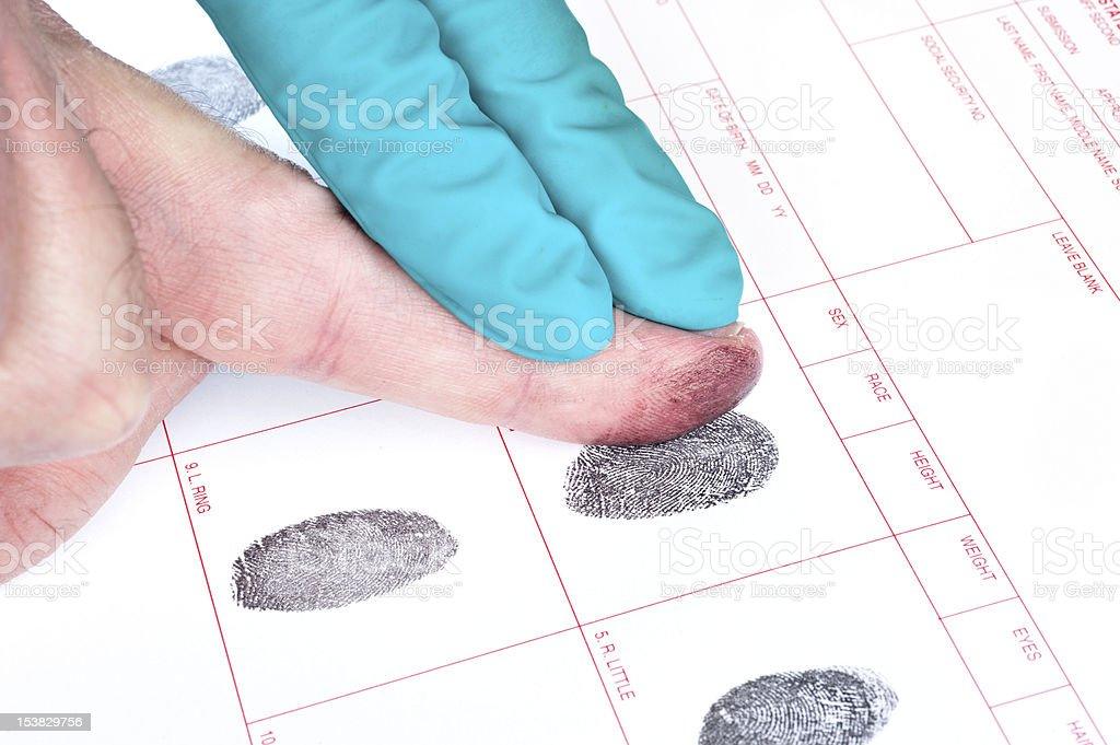 Man being finger printed with help of one other hand stock photo