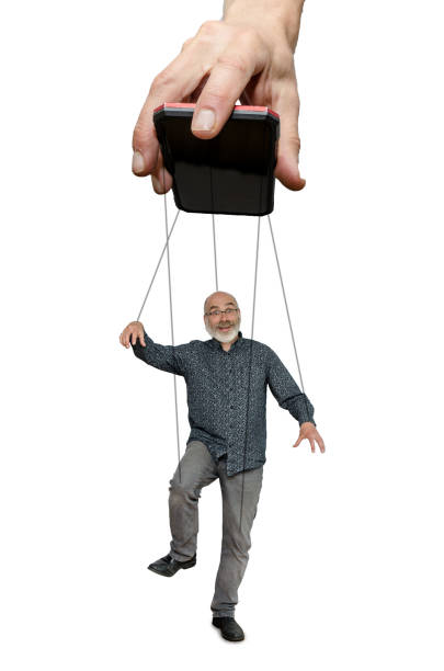 Man being used as a puppet by mobile phone
