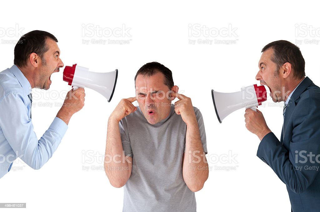 man being yelled at by managers stock photo