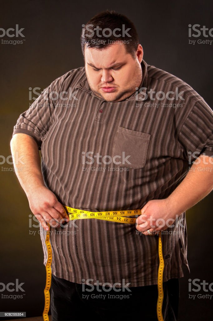 Man Belly Fat With Tape Measure Weight Loss Around Body