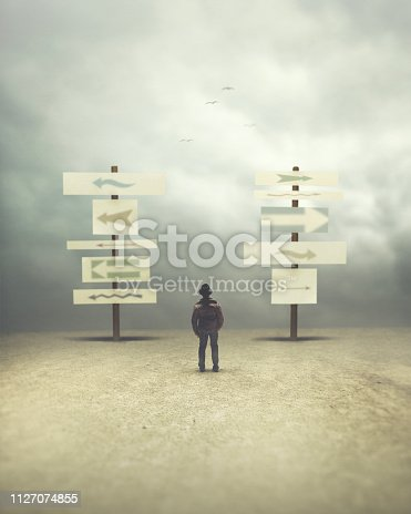 man in doubt thinking about the right direction