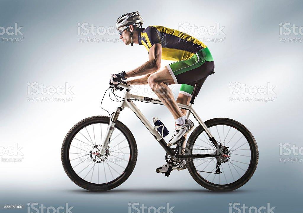 man bicycling mountain bike silhouette stock photo
