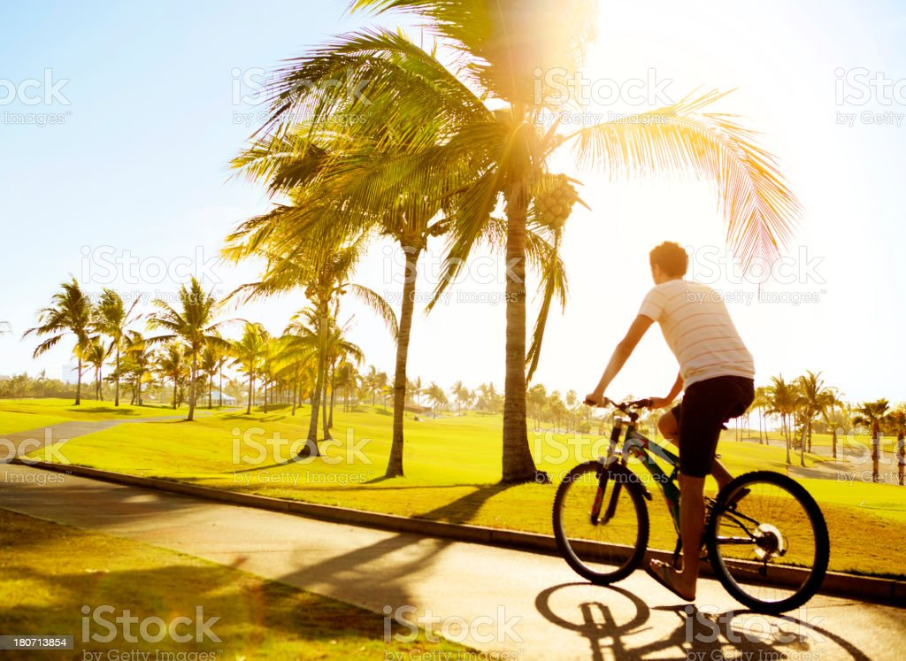 Man bicycling royalty-free stock photo