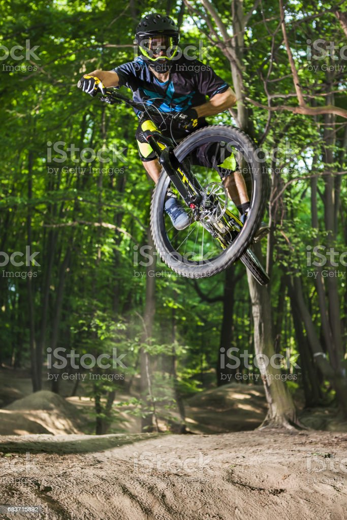 Man bikes in the green forest. stock photo