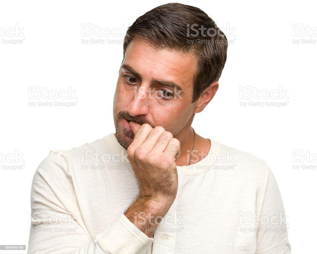 Man Biting Fingernail stock photo