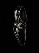 Man black business shoes