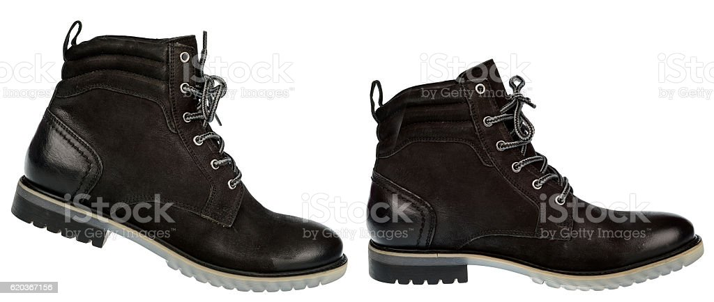 Man black winter boot isolated. foto de stock royalty-free