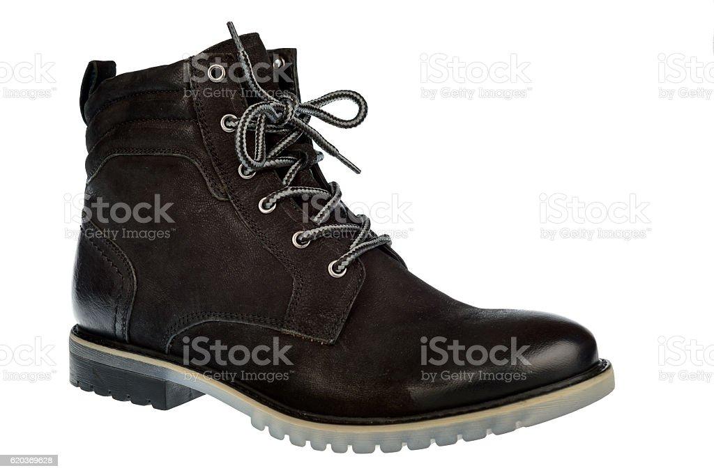 Man black winter boot isolated. zbiór zdjęć royalty-free