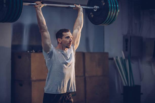 Man body building stock photo