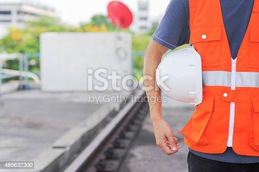 1047558948 istock photo man body engineer hand holding white helmet for train 485632300