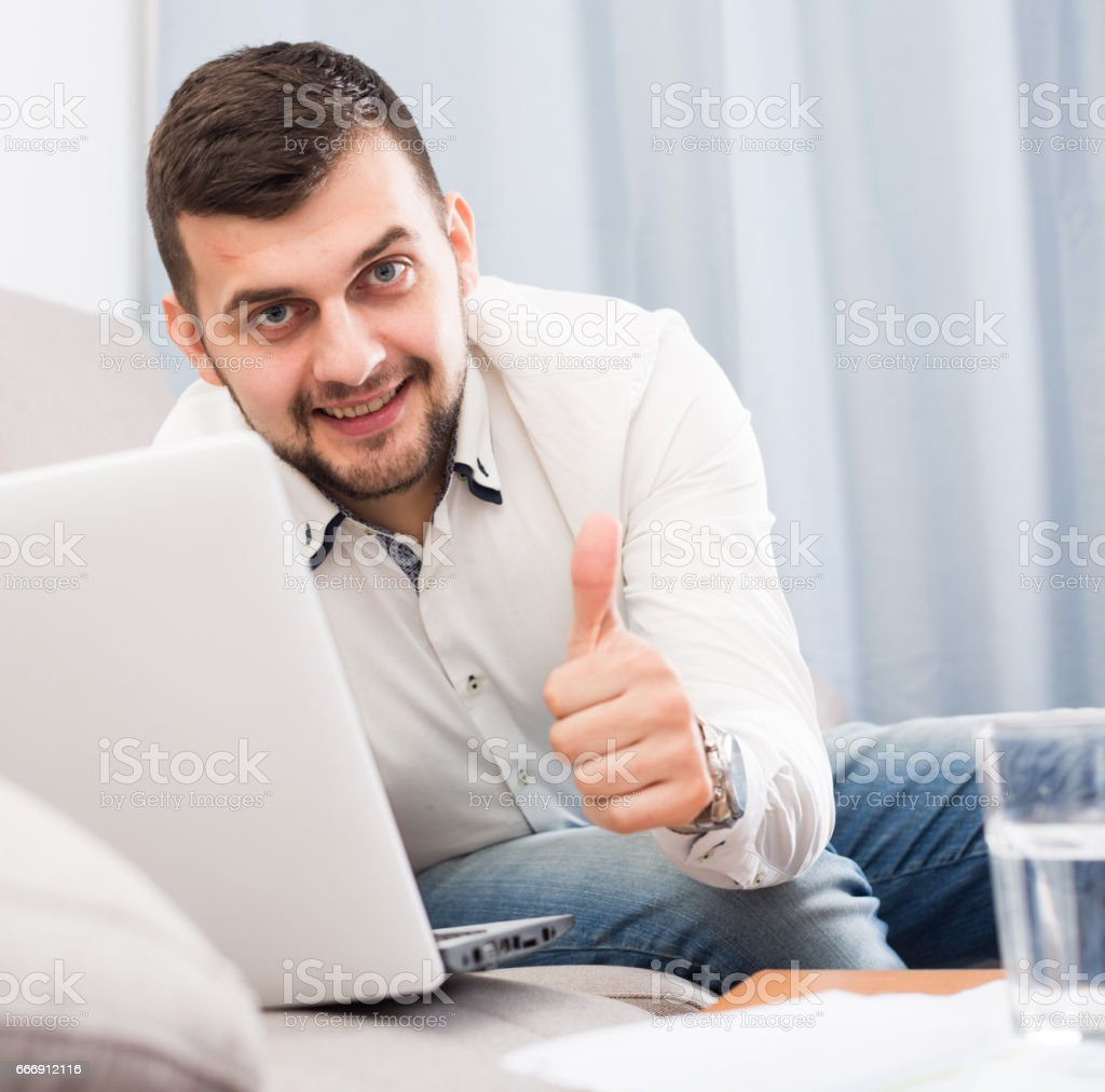 Man booking online stock photo
