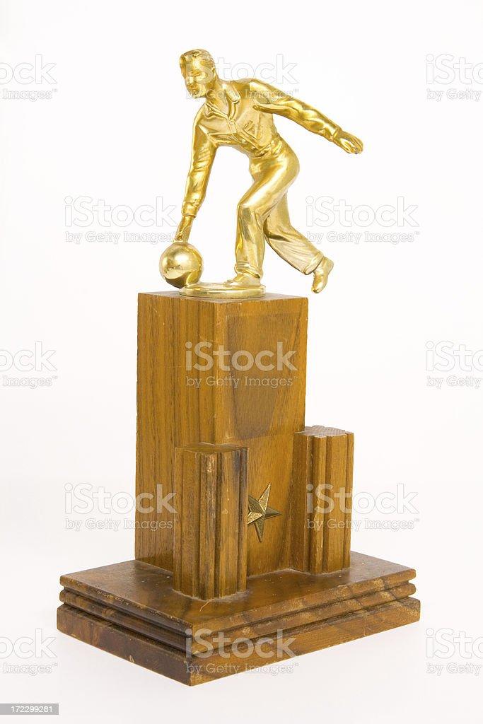 Man Bowling, Trophy stock photo