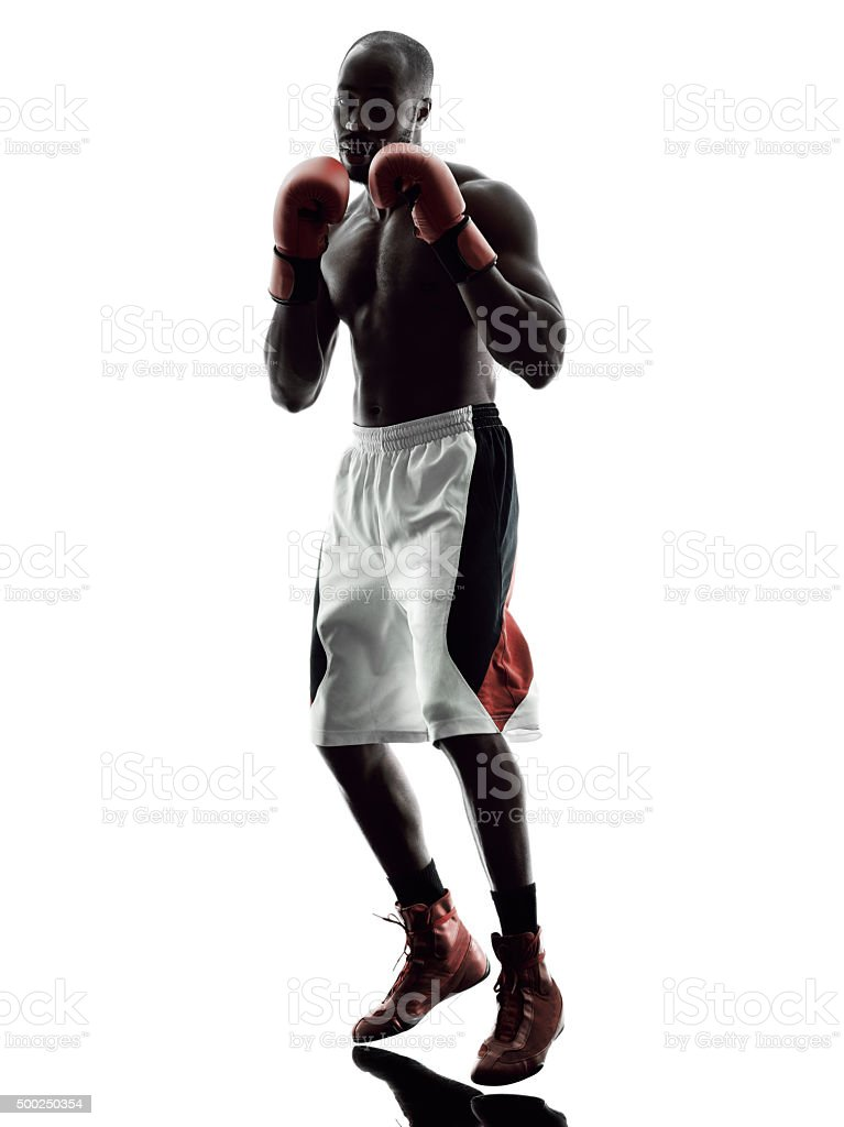 man boxers boxing isolated silhouette stock photo