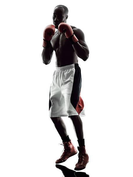 Silueta de hombre de boxeo boxers aislado - foto de stock
