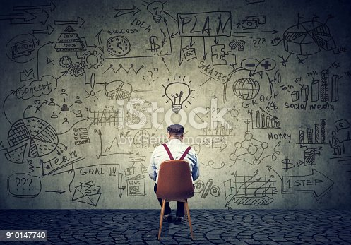 istock Man brainstorming on plan 910147740