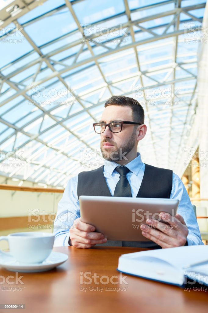 Man brainstorming stock photo