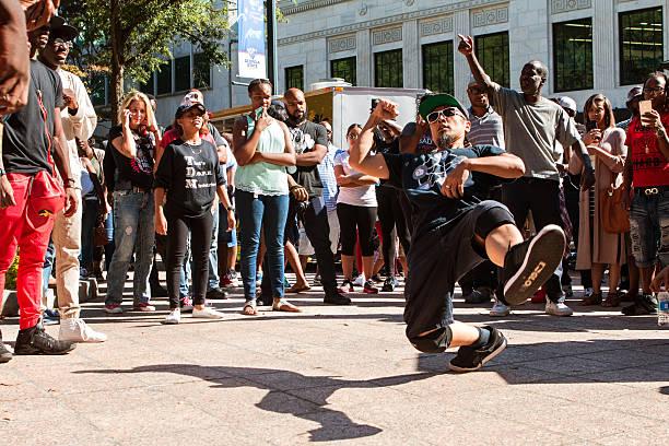 Man Break Dances In B-Boy Battle At Hip Hop Festival stock photo