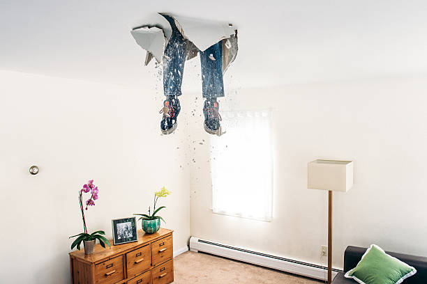 Man breaks ceiling drywall while doing DIY stock photo