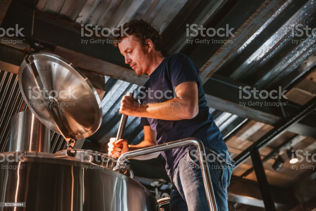 Man Brewing Beer stock photo