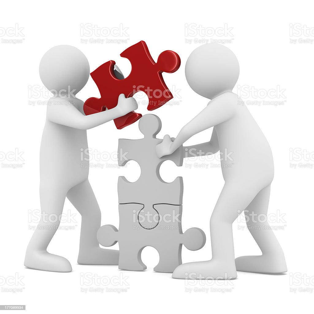 man build puzzle on white. Isolated 3D image royalty-free stock photo