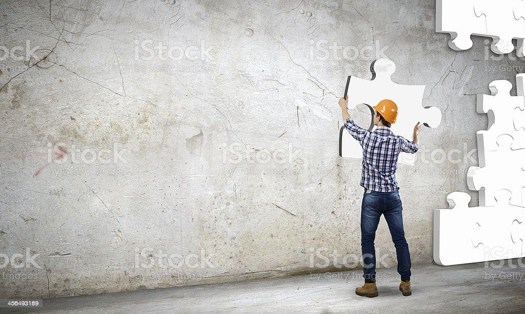 Man builder stock photo