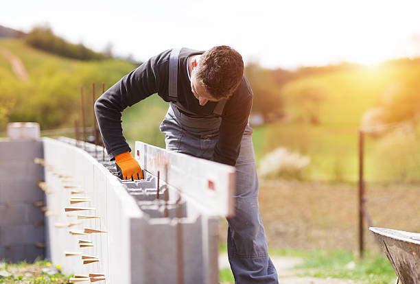 Man building a house stock photo