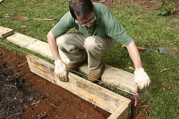 Man Building Wooden Garden Border stock photo