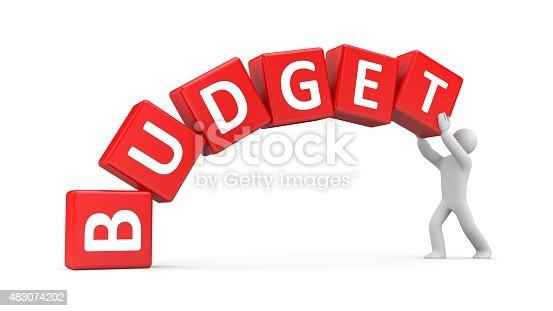 istock Man builds a budget 483074202