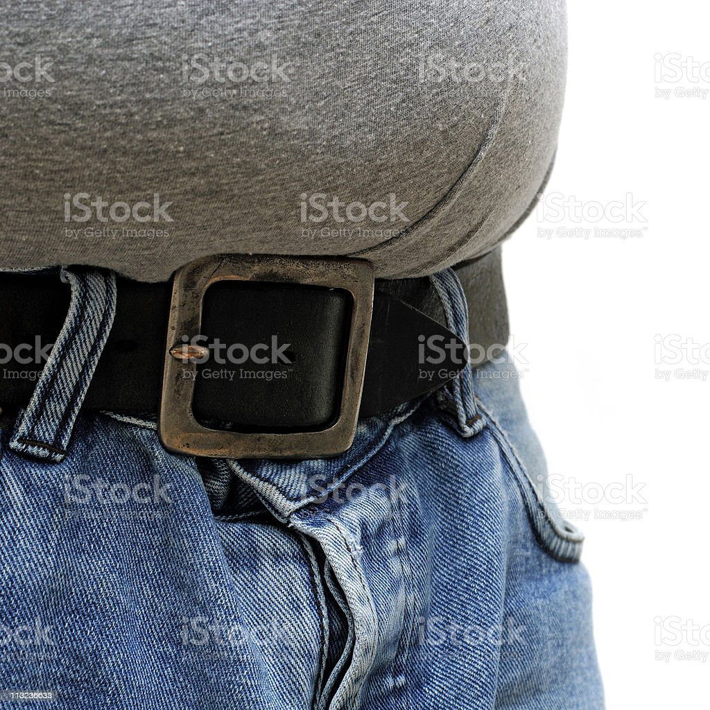 man bulging stomach. overweight royalty-free stock photo