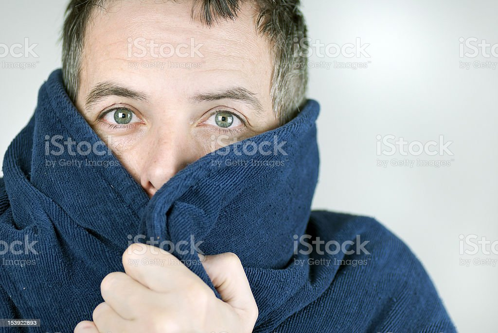 Man Bundled Up In Housecoat royalty-free stock photo