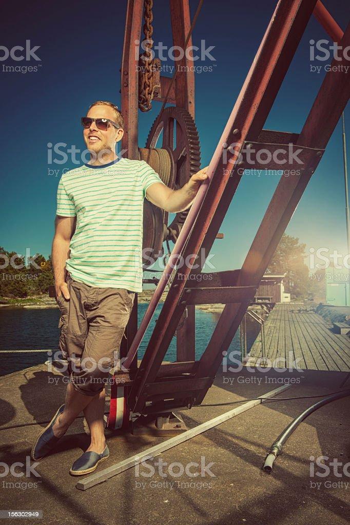 Man by the ocean coast royalty-free stock photo