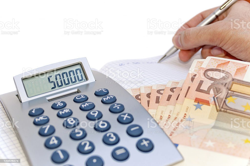 Man calculate earnings royalty-free stock photo