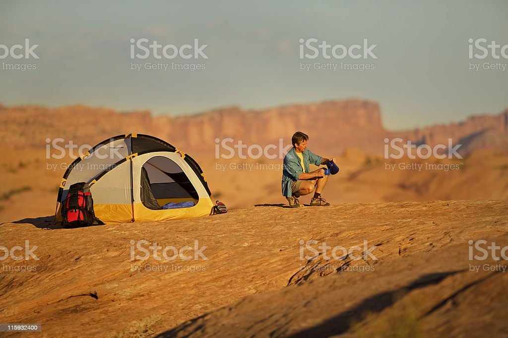 Man Camping in Desert near Moab, Utah royalty-free stock photo