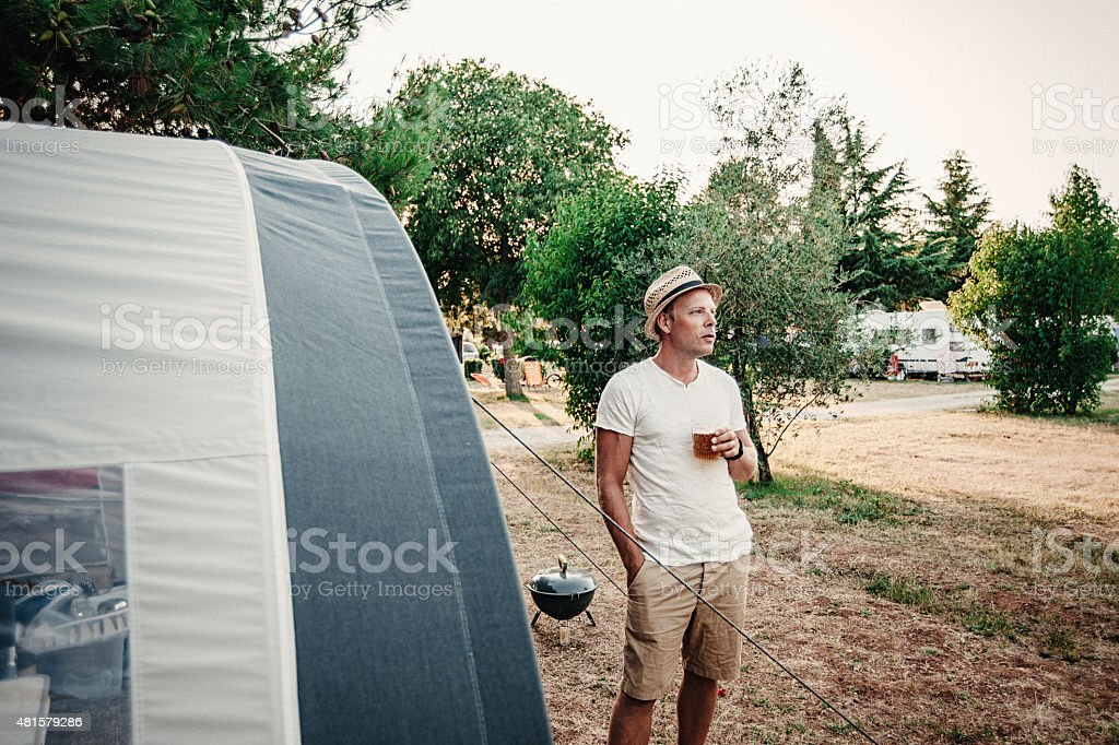 Man camping in his caravan at camping royalty-free stock photo