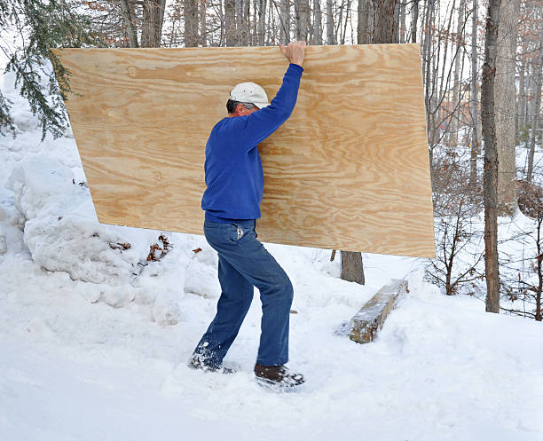 Man carrying a sheet of plywood in the snow stock photo
