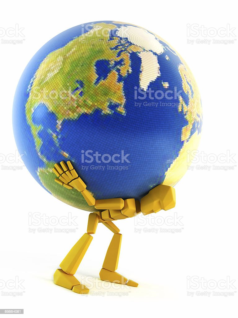 man carrying the Earth royalty-free stock photo