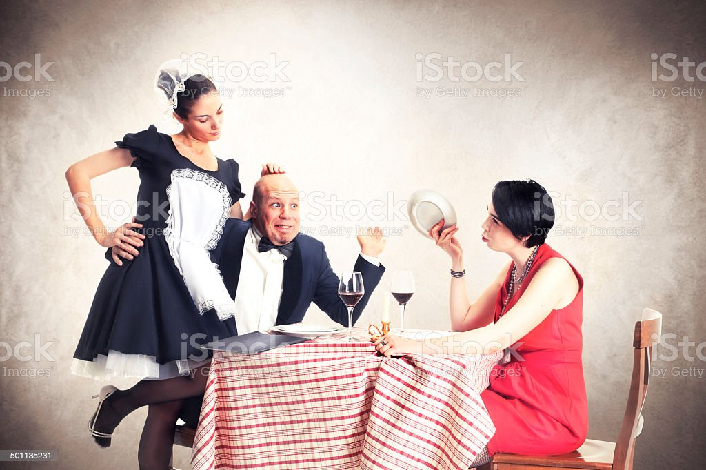 man caughted with his lover by his wife stock photo