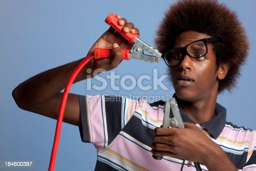 istock Man causing a short circuit. 184600397