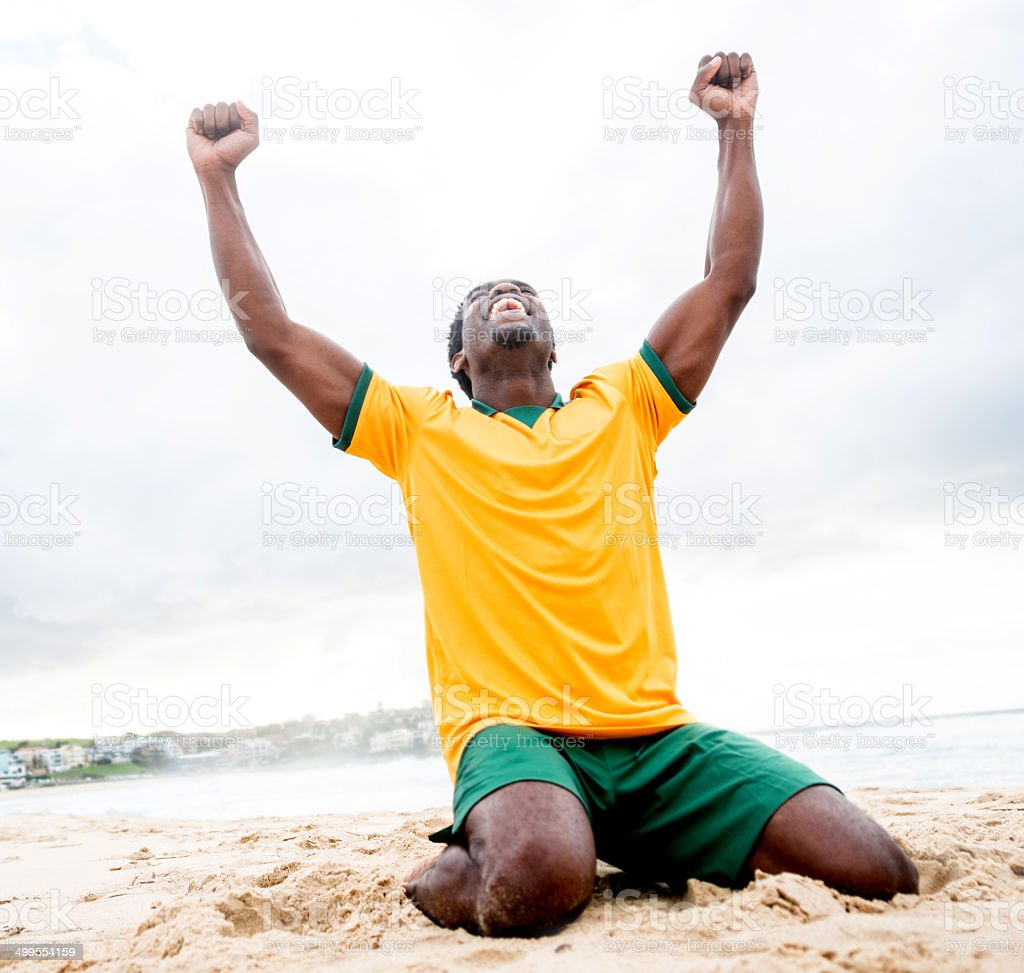 Man celebrating a goal stock photo