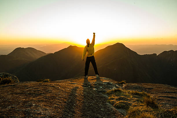 man celebrating success on top of a mountain - stimulus stock pictures, royalty-free photos & images