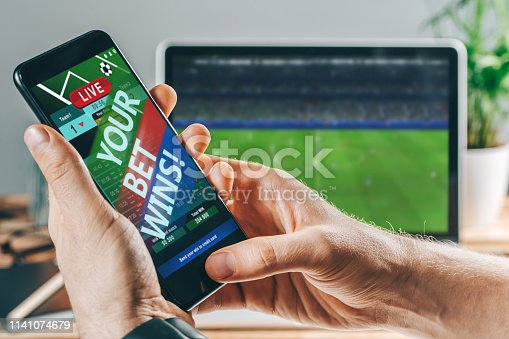 istock Man celebrating victory after making bets at bookmaker website 1141074679
