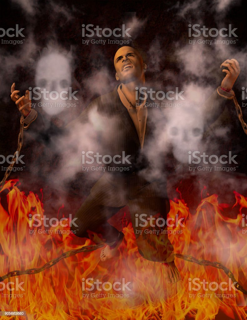 Man Chained in Hell stock photo