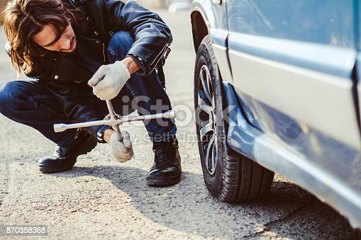 istock man changing wheel on a car 870358368