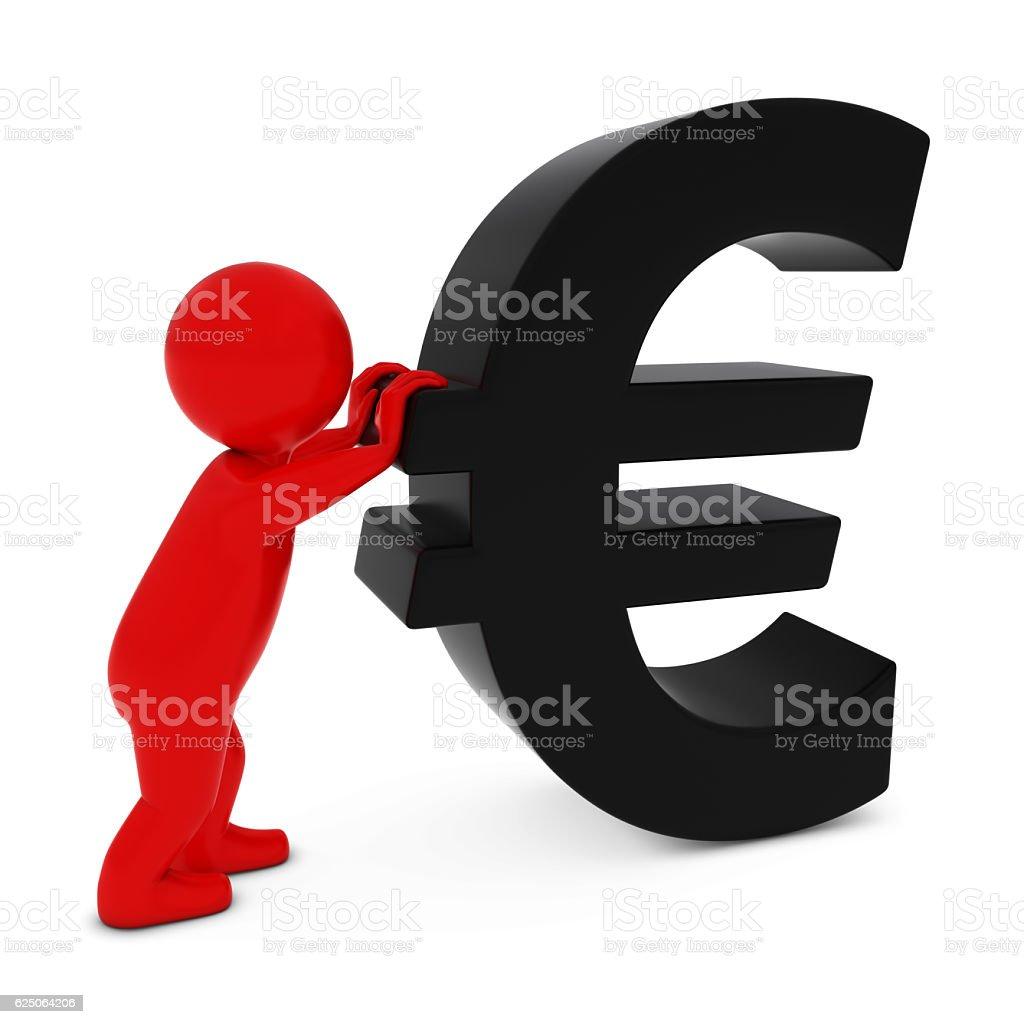 3D Man Character Pushing Black Euro Symbol 3D Illustration stock photo