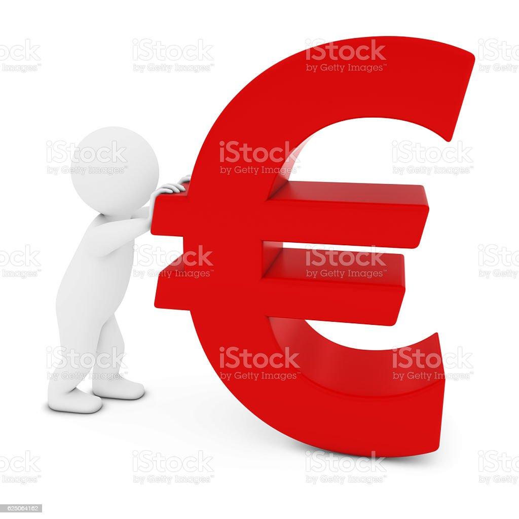 3D Man Character Pushing Red Euro Symbol 3D Illustration stock photo